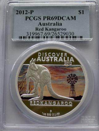Pcgs 2012 P Proof Discover Australia Red Kangaroo Dollar Pr69 Silver 1 Oz Pf photo