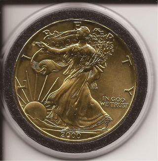 2000 American Eagle Walking Liberty 1 Oz Fine Silver Dollar Coin In Gold photo