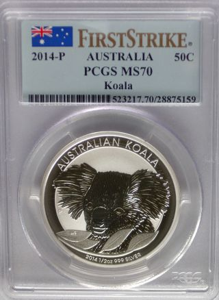 Pcgs Registry 2014 First Strike Australia Koala 50c Fifty Cent Ms70 Silver 1/2oz photo