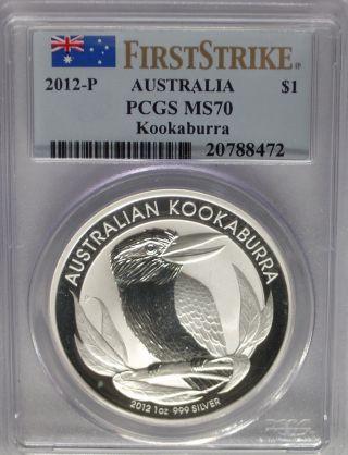 Pcgs Registry 2012 P First Strike Australia Kookaburra $1 Dollar Ms70 Silver 1oz photo