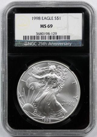 1998 Silver Eagle Ms 69 $1 Ngc Black Retro Slab 25th Anniversary photo