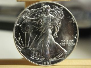1987 American Eagle.  999 Silver Dollar $1 Bullion Coin - 1 Oz Troy - S1s Ki571 photo