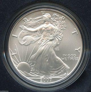 2007 - W American Eagle Uncirculated.  999 Silver Dollar - Us - 1 Oz Troy S1s photo