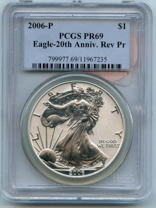 2006 - P Pcgs Pr 69 Silver Eagle 20th Anniversary Reverse Proof Dollar - S1s Km849 photo