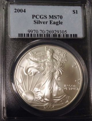 2004 1 Oz Silver American Eagle Coin Flawless Pcgs Ms - 70 Perfect photo