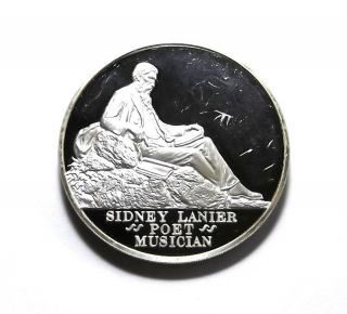 1972 Postmasters Of America Sidney Lanier - Poet,  Musician - Sterling Silver Medal photo