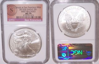 2013 - (s) $1 Ngc Ms70 American Silver Eagle San Francisco Seal First Release photo