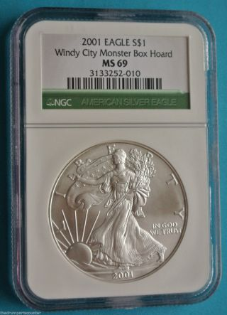 Collectors 2001 Silver American Eagle Ngc Ms69 Windy City Monster Box Hoard photo