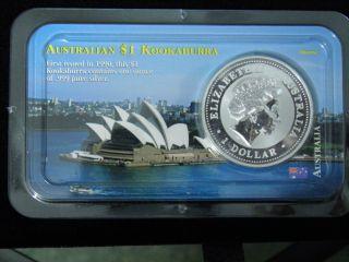2001 The Australian Kookaburra 1 Dollar Fine Silver Coin 99.  Reserve.  999 photo