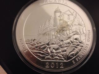 2012 5 Oz America The Acadia National Park,  Maine Silver Coin photo