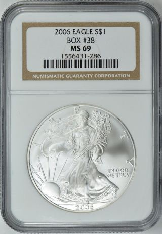2006 American Silver Eagle Box 38 Ngc Ms69 photo