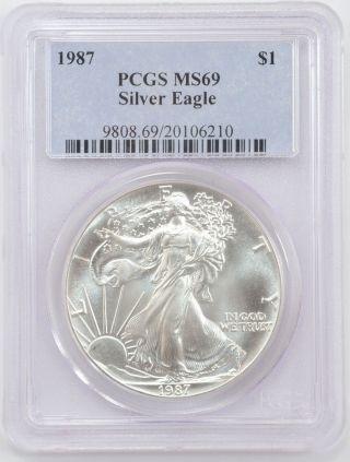 1987 American Silver Eagle Dollar 1$ - Pcgs Ms 69 -,  Pq photo