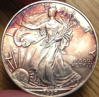 1997 1oz Silver Eagle Tone Blue Red Purple Uncirculated photo