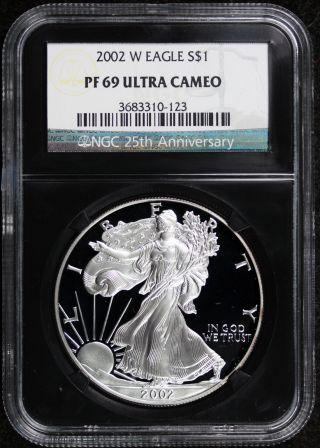2002 - W Silver Eagle Pf 69 Ultra Cameo $1 Ngc Black Retro Slab 25th Anniversary photo