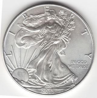 2013 U.  S.  Silver American Eagle $1 One Dollar 1 Oz Bullion Coin - Unc photo