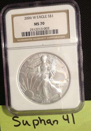 2006 W Burnished Silver Eagle Ngc Ms70 1st Burnished Rare Key Date Top Grade photo