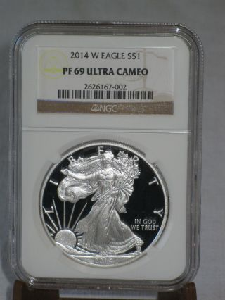 2014 W $1 Silver Eagle Ngc Pf69 Ultra Cameo.  Comes With & photo