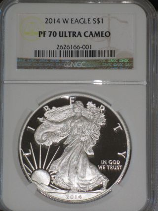 2014 W $1 Silver Eagle Ngc Pf70 Ultra Cameo.  Comes With & photo