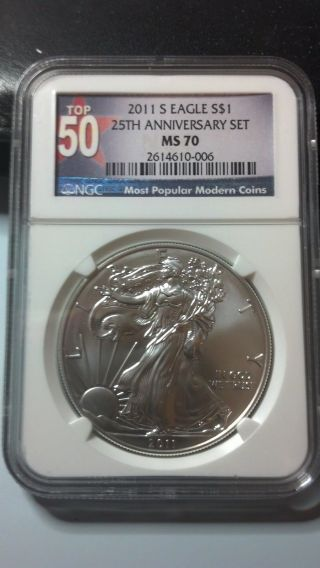 2011 - S Silver Eagle - Ms - 70 Ngc - Rare Top 50 Lable 05 photo