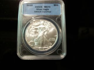 Silve Eagle1oz Anacs Ms70 Certified (2010) photo