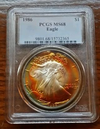 Toned Silver Eagle 1986 Ms 68 Electric Neon Colors,  None Better photo
