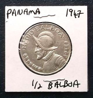 . 900 Silver 1947 Panama 1/2 Balboa Large Half Dollar Size 30mm Km 12.  1 Helmet photo
