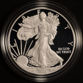 2011 - W 1 Oz Proof Silver American Eagle (w/box &) photo