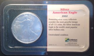 2002 1oz American Silver Eagle - Uncirculated - Littleton photo