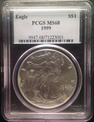 1999 $1 Silver Eagle Pcgs Ms68 photo