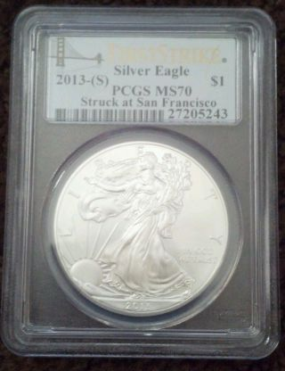 2013 American Silver Eagle - (s) Graded By Pcgs As Ms70 photo