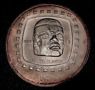 1996 10 Pesos 5 Oz Silver 999 Precolumbian Olmec Head Bu Only 2150 Were Made photo