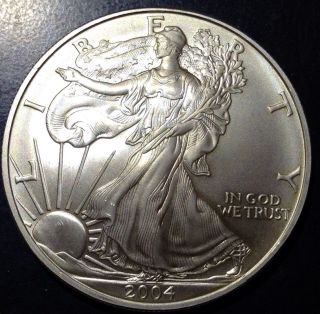 2004 1 Oz Silver American Eagle (brilliant Uncirculated).  999 Pure photo