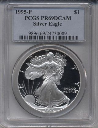 1995 - P Proof American Eagle Silver Dollar Graded By Pcgs Pr69 Dcam photo
