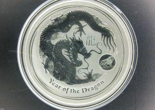 2012 $1 Australia Lunar Series Ii Year Of Dragon 1 Oz.  999 Silver Coin Lion Priv photo