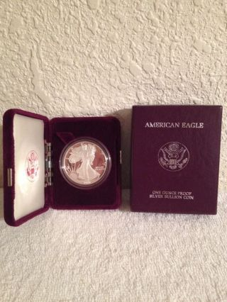 1988 U.  S.  American Eagle 1 Oz.  Proof.  999 Fine Silver Dollar Coin Uncirculated photo
