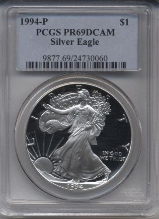 1994 - P Proof American Eagle Silver Dollar Graded By Pcgs Pr69 Dcam photo