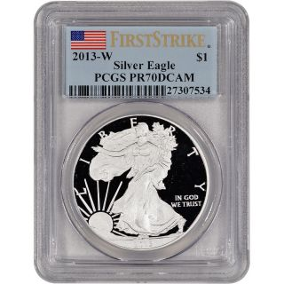 2013 - W American Silver Eagle Proof - Pcgs Pr70 Dcam - First Strike photo