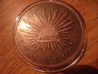1894 Mexican Libertad Do/nd 8 Reales Treasure Coin photo
