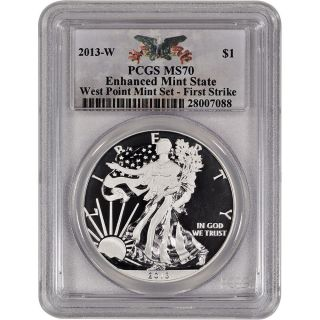 2013 - W American Silver Eagle - Enhanced State - Pcgs Ms70 - First Strike photo