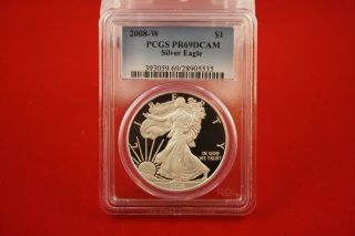 2008 W Proof Silver American Eagle Pf - 69 Ultra Cameo Pcgs 00013 photo