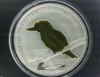 2007 $1 Australia Kookaburra Gilded 1 Oz.  999 Silver Coin photo