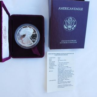 1992 - S 1 Oz.  American Silver Eagle Proof And photo