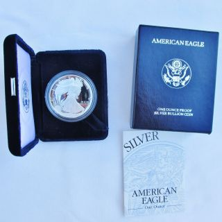 1995 - P 1 Oz.  American Silver Eagle Proof With Box/coa photo