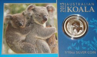2013 - 1/10 Oz Australia Perth Koala Fine Bullion Silver Coin - In The Card photo