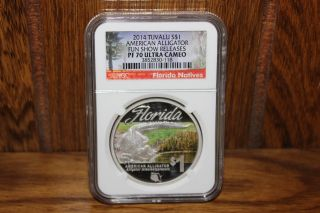 2014 Tuvalu S$1 American Alligator Fun Show Releases Ngc Pf70 Ultra Cameo photo