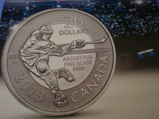 2013 - $20 Canadian Fine Silver 0.  9999 Hockey Bullion Silver Coin With photo