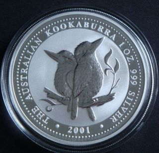 2001 - 1 Oz Australia Kookaburra Perth Bullion Fine Silver Coin photo