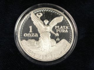 1986 Mexico Proof Silver Libertad Coin 1 Onza.  999 Fine Silver Nr W/box + photo
