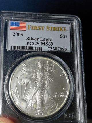 2005 Silver Eagle - - - - Pcgs Ms69 - - - First Strike photo