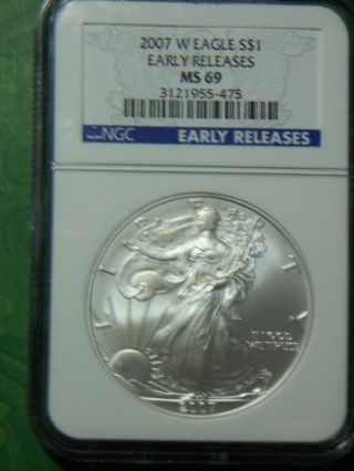 2007 W Silver American Eagle Ngc Ms 69 Early Releases photo